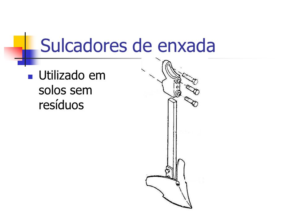Sulcadores de enxada Utilizado em solos sem resíduos