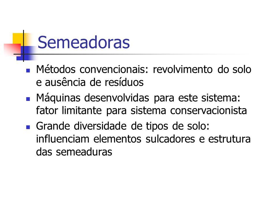 Semeadoras Métodos convencionais: revolvimento do solo e ausência de resíduos.
