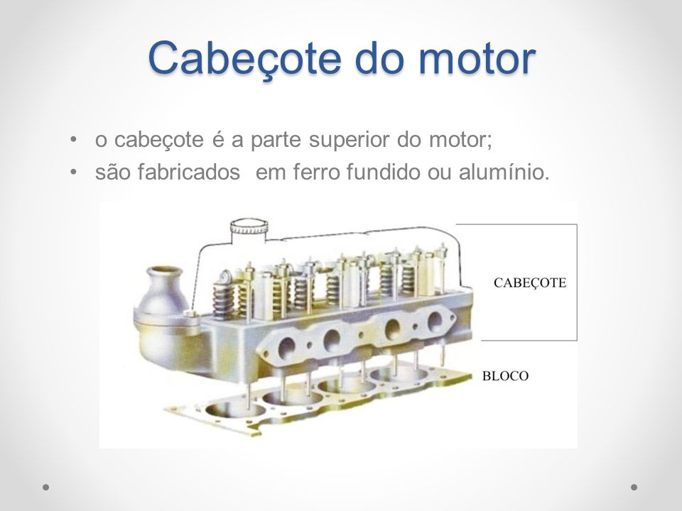 Cabeçote do motor o cabeçote é a parte superior do motor;