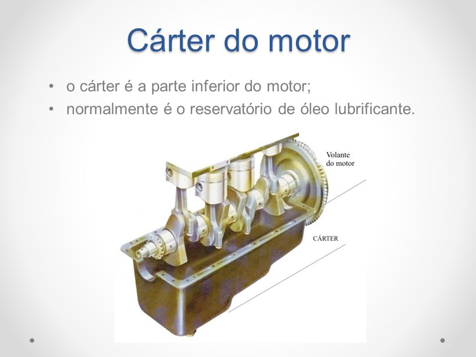 Cárter do motor o cárter é a parte inferior do motor;
