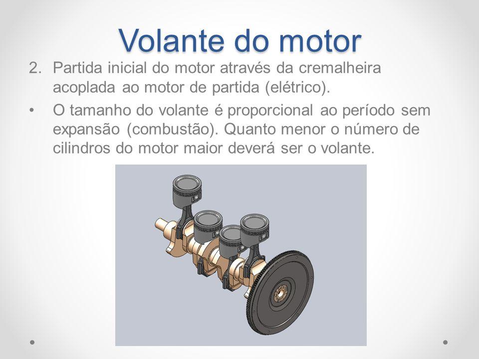 Volante do motor Partida inicial do motor através da cremalheira acoplada ao motor de partida (elétrico).