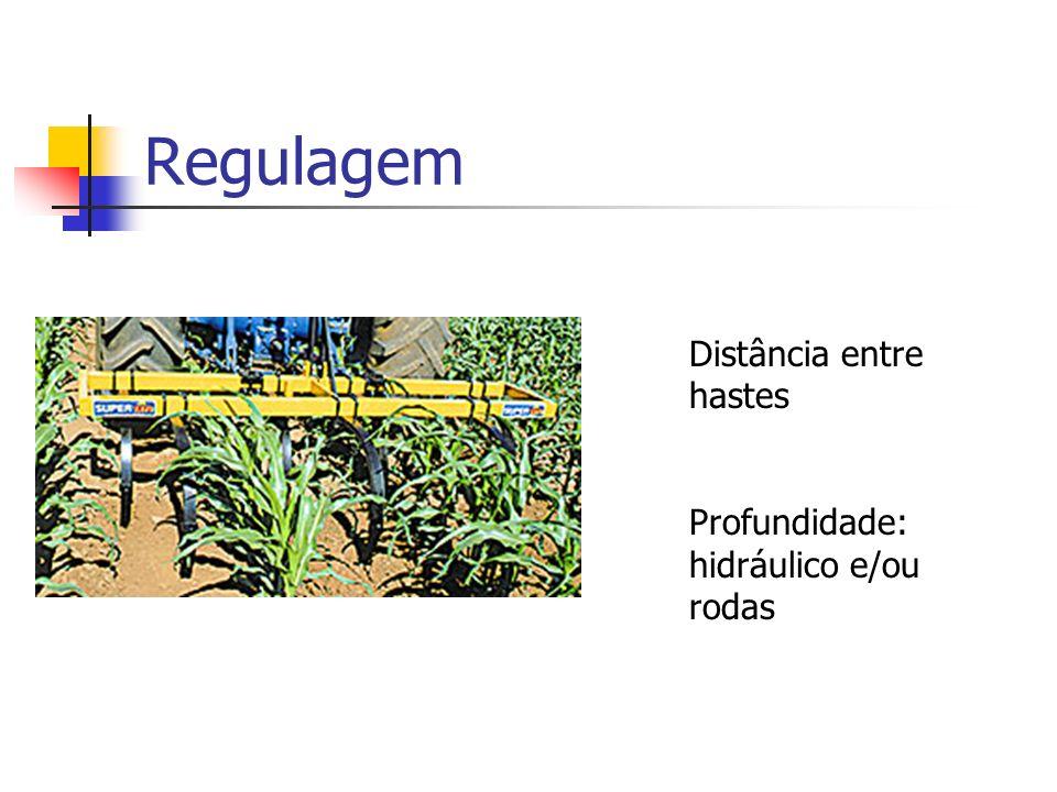 Regulagem Distância entre hastes Profundidade: hidráulico e/ou rodas