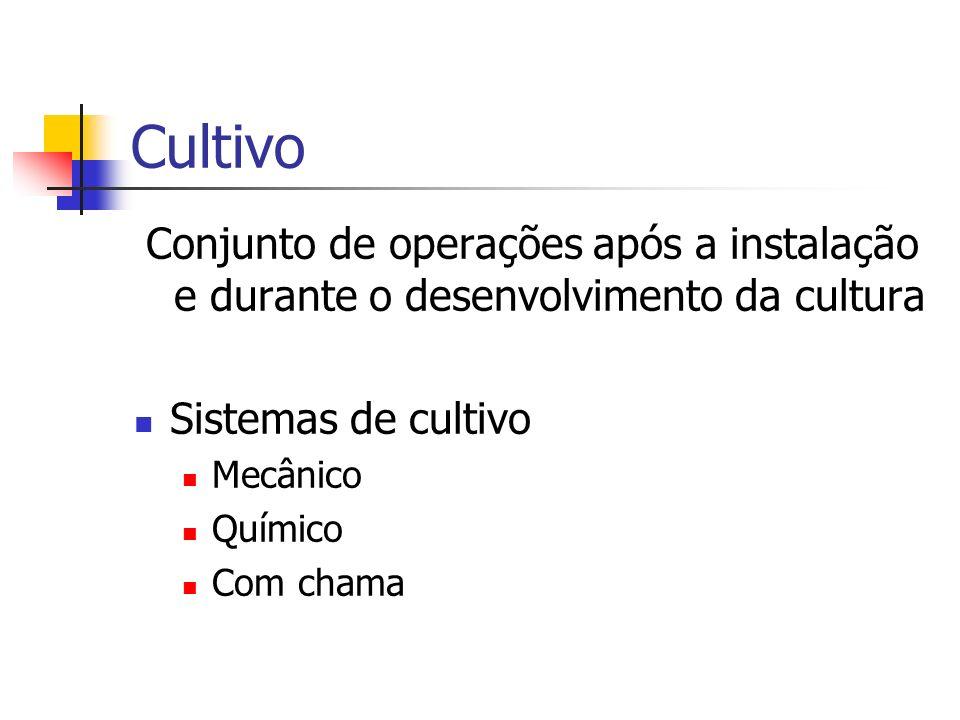 CultivoConjunto de operações após a instalação e durante o desenvolvimento da cultura. Sistemas de cultivo.
