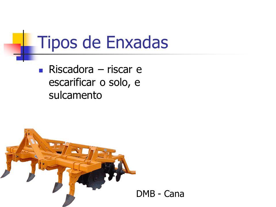 Tipos de Enxadas Riscadora – riscar e escarificar o solo, e sulcamento