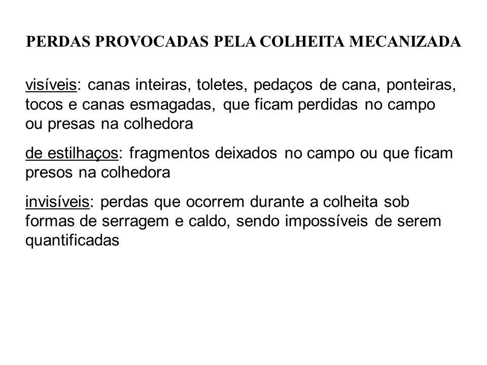 PERDAS PROVOCADAS PELA COLHEITA MECANIZADA