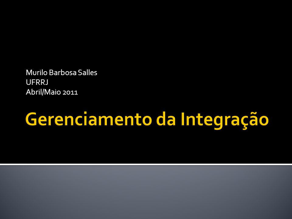 Gerenciamento da Integração