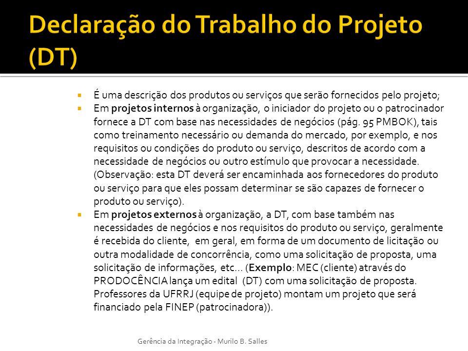 Declaração do Trabalho do Projeto (DT)