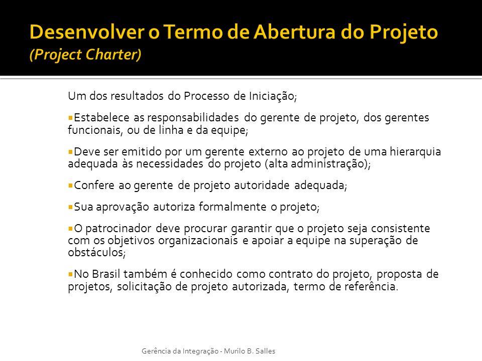 Desenvolver o Termo de Abertura do Projeto (Project Charter)