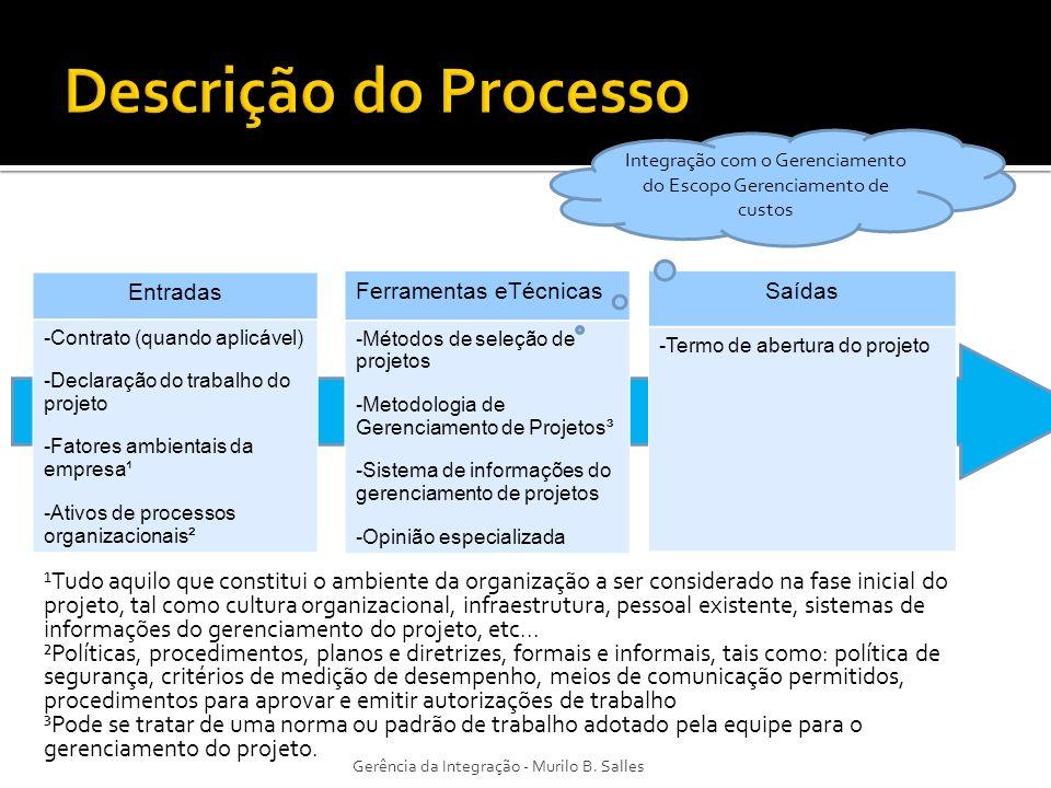 Integração com o Gerenciamento do Escopo Gerenciamento de custos