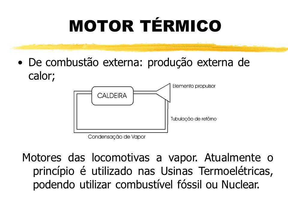 MOTOR TÉRMICO De combustão externa: produção externa de calor;
