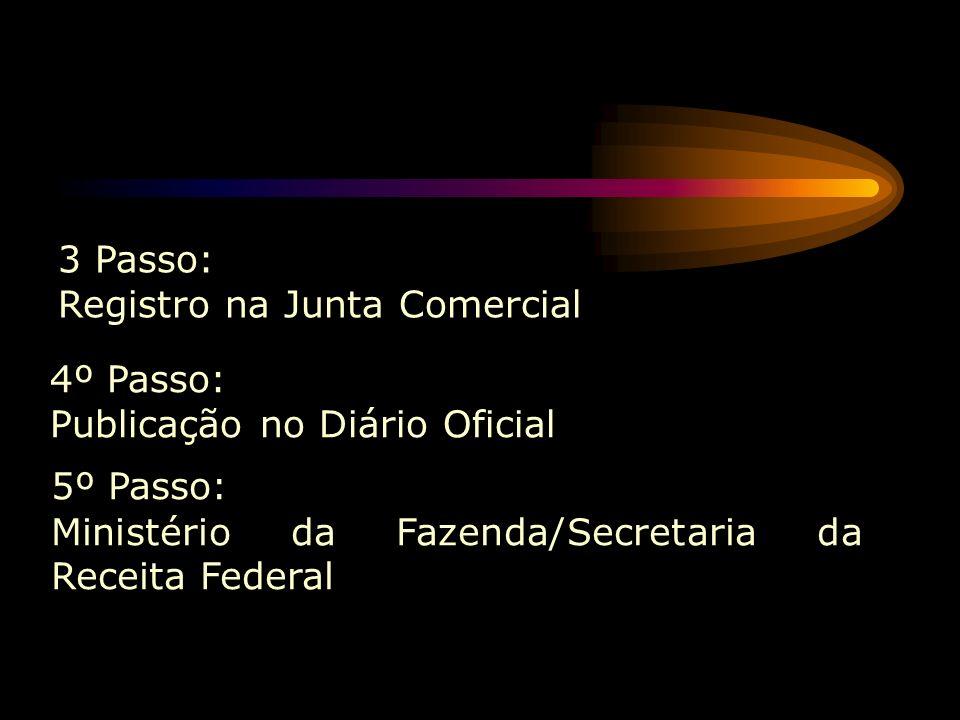 3 Passo: Registro na Junta Comercial. 4º Passo: Publicação no Diário Oficial.