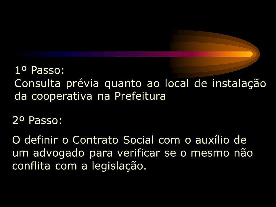 1º Passo: Consulta prévia quanto ao local de instalação da cooperativa na Prefeitura. 2º Passo: