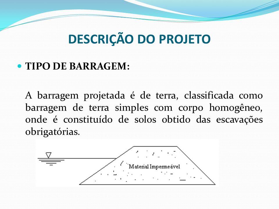 DESCRIÇÃO DO PROJETO TIPO DE BARRAGEM: