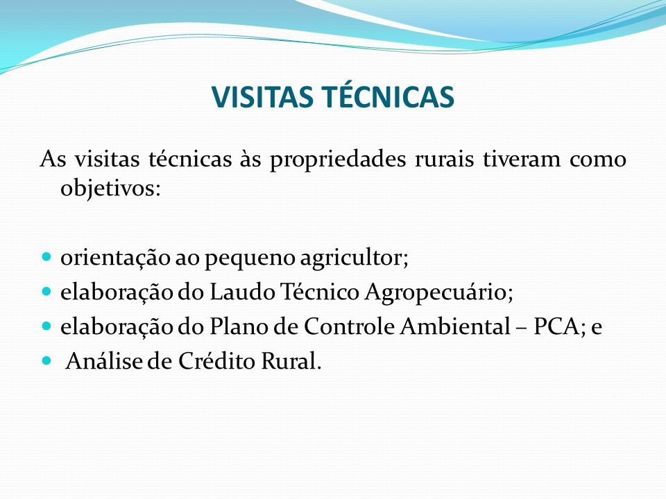 VISITAS TÉCNICASAs visitas técnicas às propriedades rurais tiveram como objetivos: orientação ao pequeno agricultor;