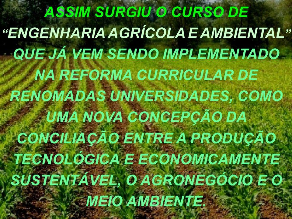 ASSIM SURGIU O CURSO DE ENGENHARIA AGRÍCOLA E AMBIENTAL