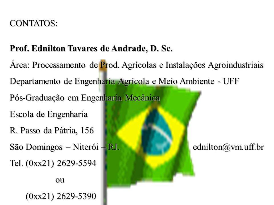 CONTATOS: Prof. Ednilton Tavares de Andrade, D. Sc. Área: Processamento de Prod. Agrícolas e Instalações Agroindustriais.