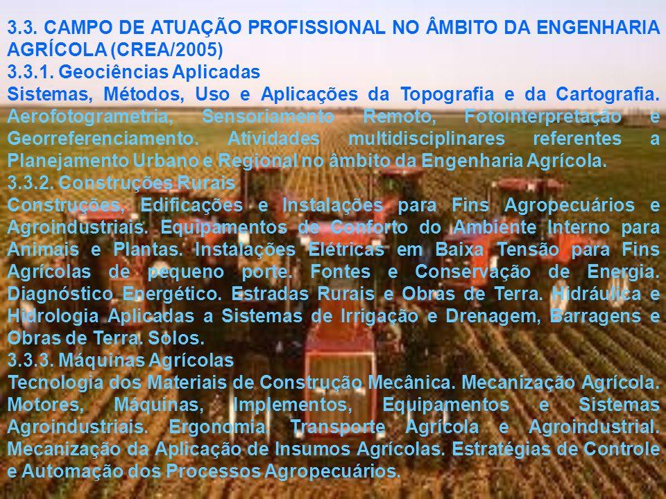 3.3. CAMPO DE ATUAÇÃO PROFISSIONAL NO ÂMBITO DA ENGENHARIA AGRÍCOLA (CREA/2005)