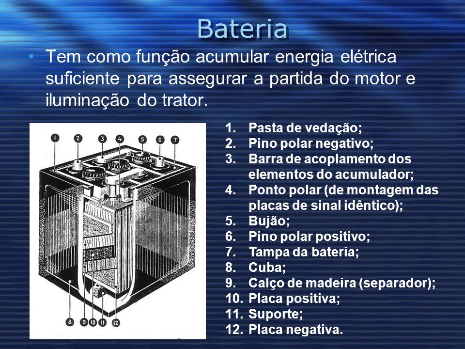 BateriaTem como função acumular energia elétrica suficiente para assegurar a partida do motor e iluminação do trator.