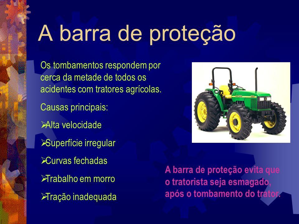 A barra de proteçãoOs tombamentos respondem por cerca da metade de todos os acidentes com tratores agrícolas.
