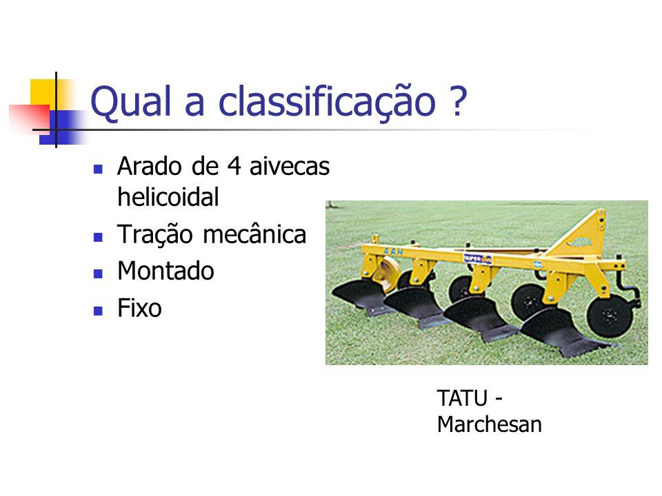 Qual a classificação Arado de 4 aivecas helicoidal Tração mecânica