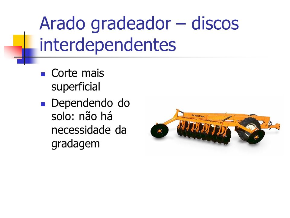 Arado gradeador – discos interdependentes
