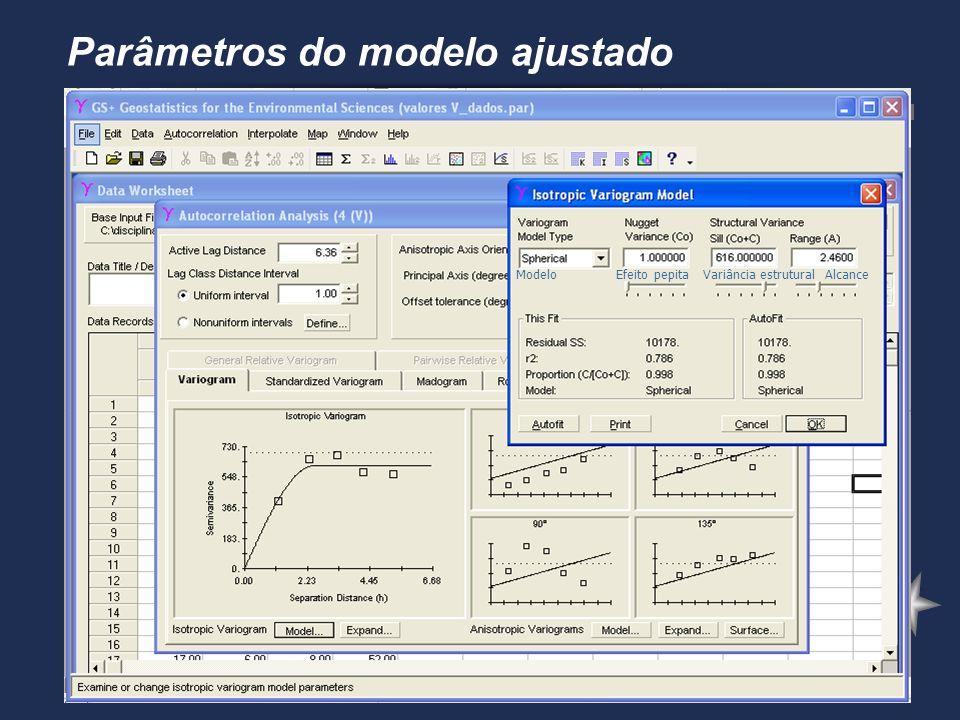 Parâmetros do modelo ajustado