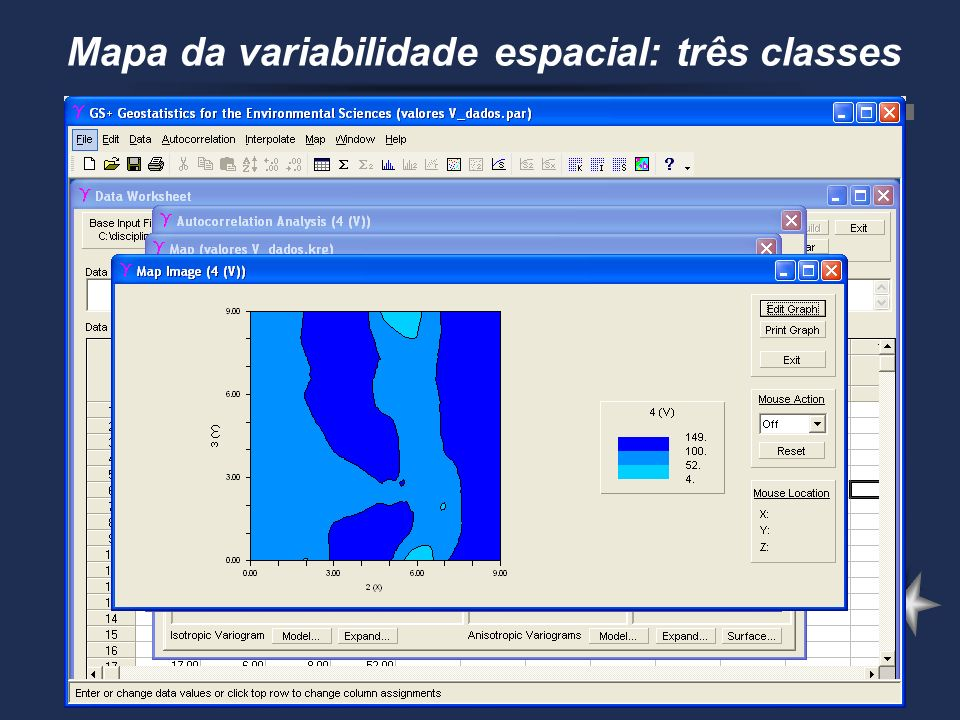 Mapa da variabilidade espacial: três classes
