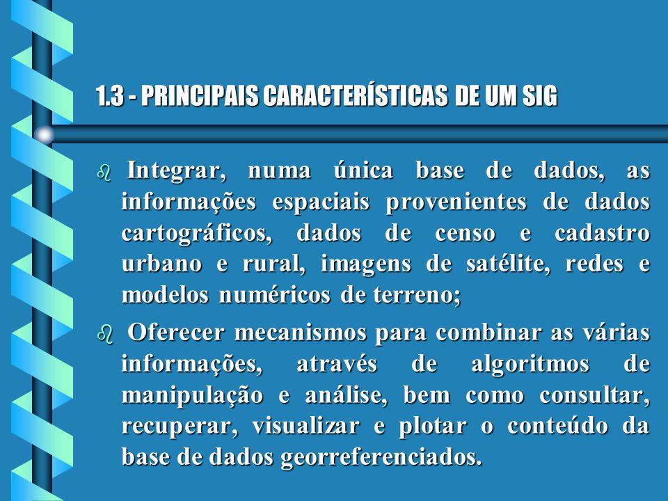 1.3 - PRINCIPAIS CARACTERÍSTICAS DE UM SIG