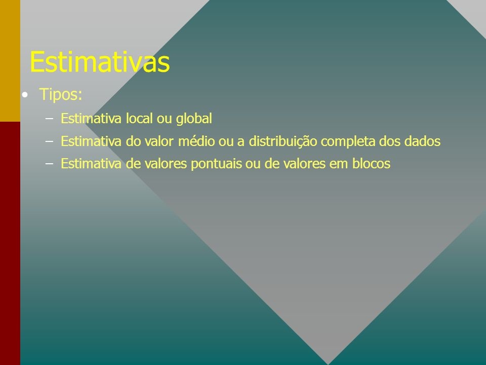 Estimativas Tipos: Estimativa local ou global