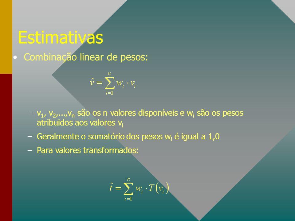 Estimativas Combinação linear de pesos: