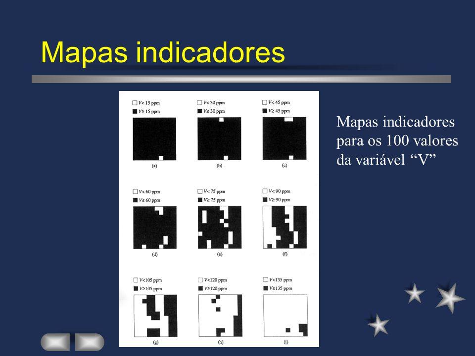 Mapas indicadores Mapas indicadores para os 100 valores da variável V