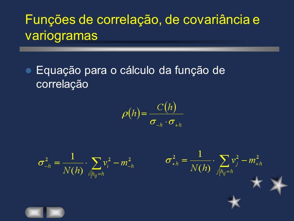 Funções de correlação, de covariância e variogramas