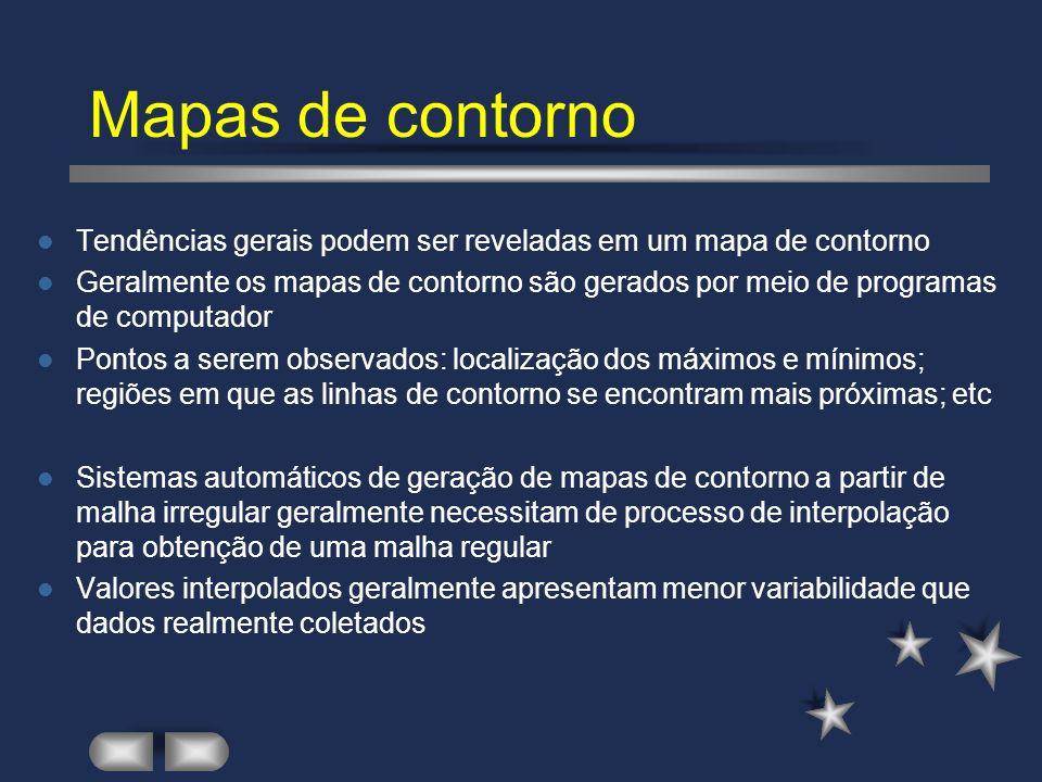 Mapas de contorno Tendências gerais podem ser reveladas em um mapa de contorno.