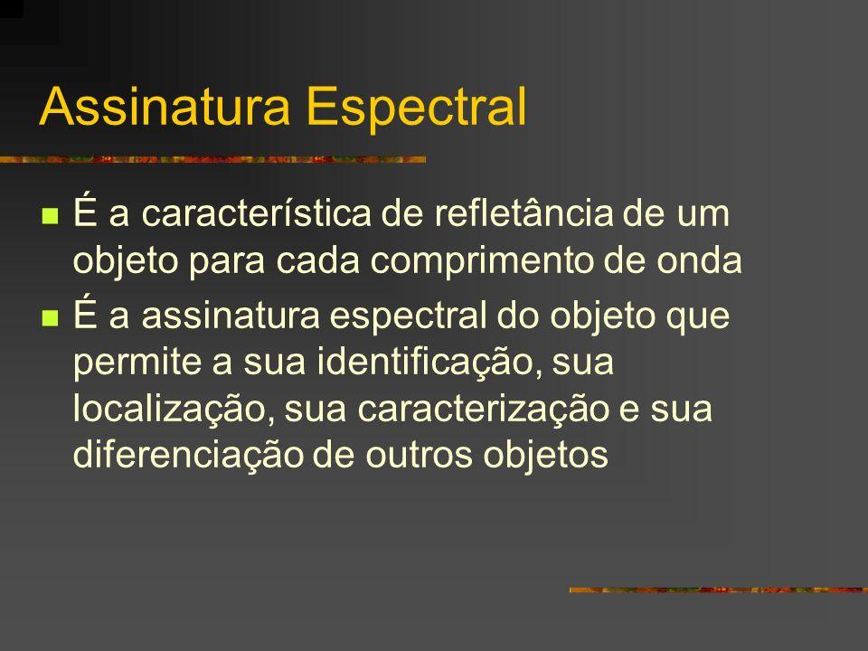 Assinatura Espectral É a característica de refletância de um objeto para cada comprimento de onda.