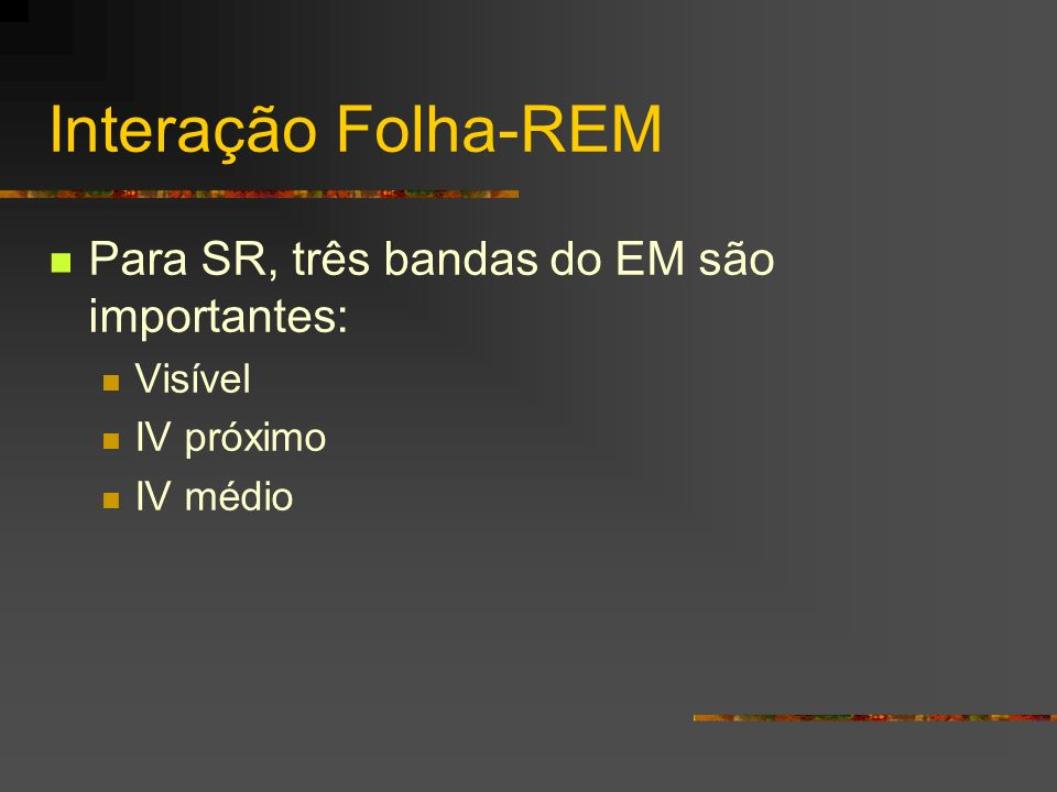 Interação Folha-REM Para SR, três bandas do EM são importantes: