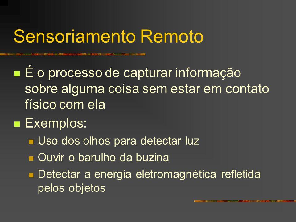Sensoriamento Remoto É o processo de capturar informação sobre alguma coisa sem estar em contato físico com ela.