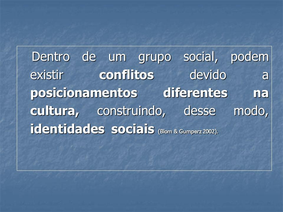 Dentro de um grupo social, podem existir conflitos devido a posicionamentos diferentes na cultura, construindo, desse modo, identidades sociais (Blom & Gumperz 2002).