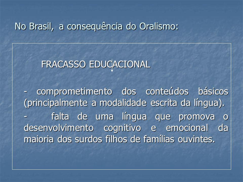 No Brasil, a consequência do Oralismo: