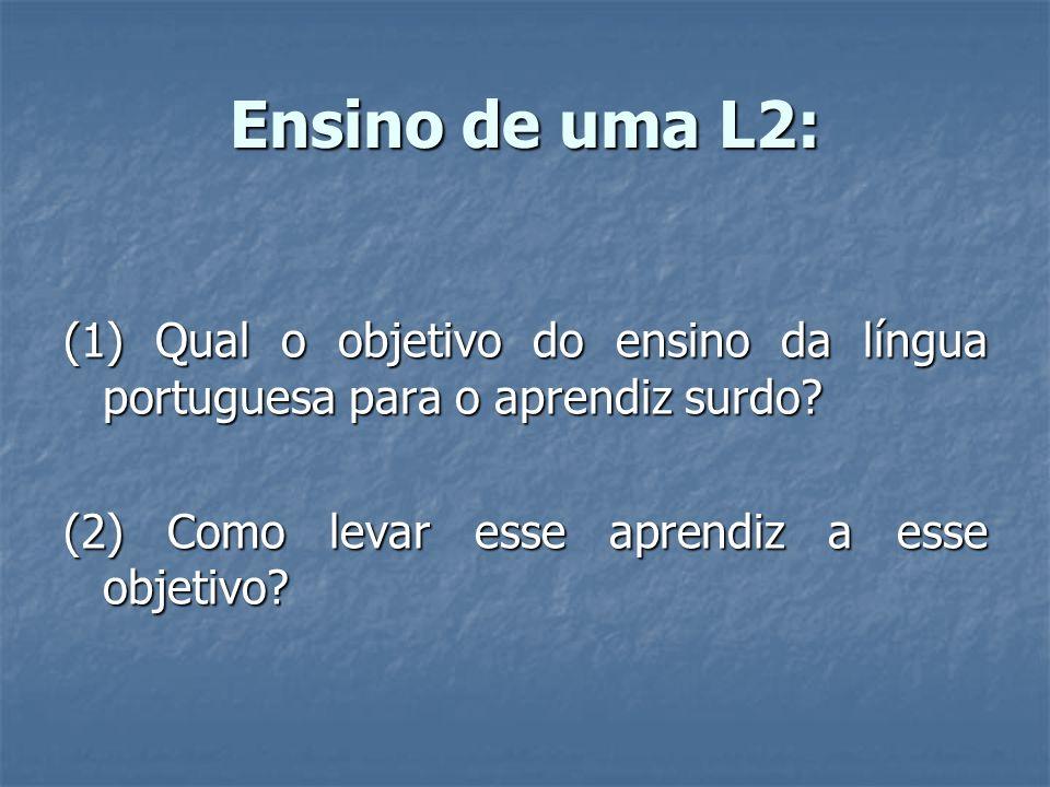 Ensino de uma L2:(1) Qual o objetivo do ensino da língua portuguesa para o aprendiz surdo.
