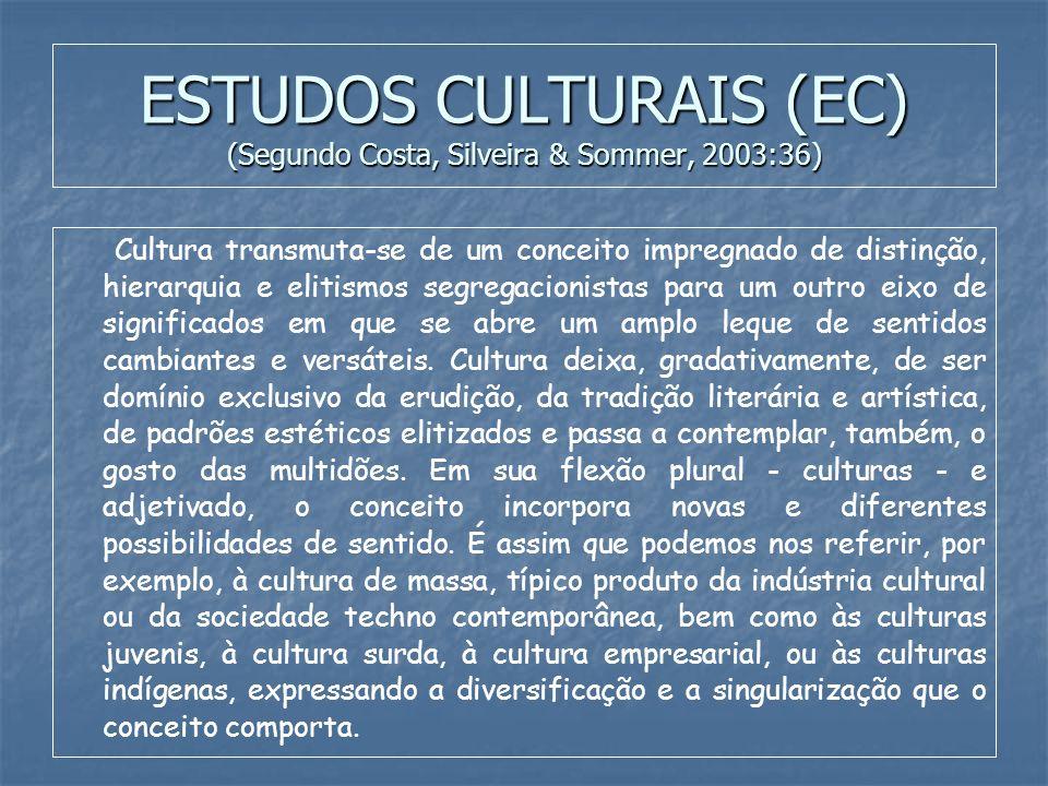 ESTUDOS CULTURAIS (EC) (Segundo Costa, Silveira & Sommer, 2003:36)