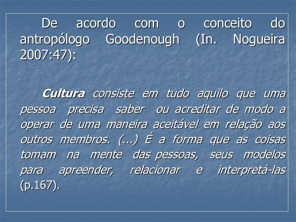 De acordo com o conceito do antropólogo Goodenough (In
