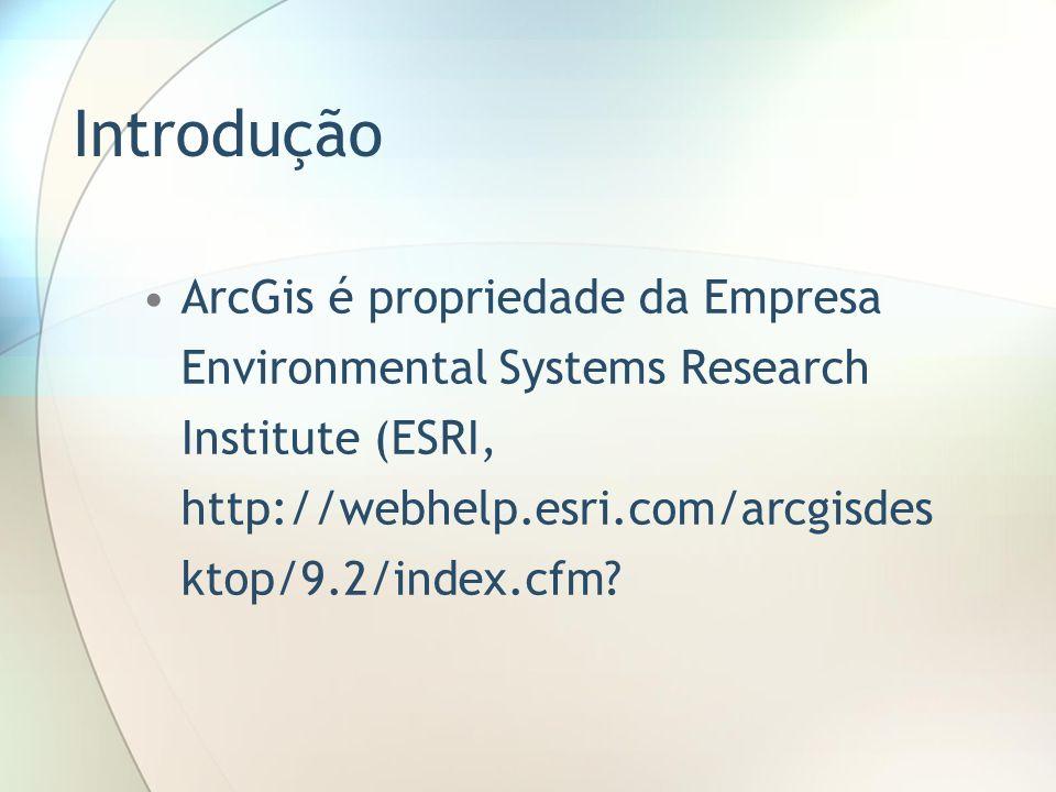 Introdução ArcGis é propriedade da Empresa Environmental Systems Research Institute (ESRI, http://webhelp.esri.com/arcgisdesktop/9.2/index.cfm