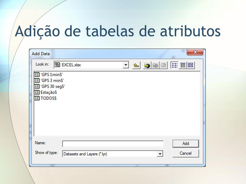 Adição de tabelas de atributos