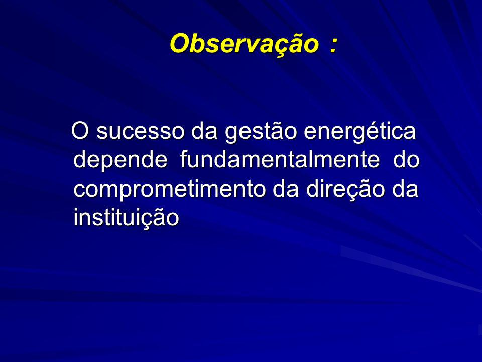Observação : O sucesso da gestão energética depende fundamentalmente do comprometimento da direção da instituição.
