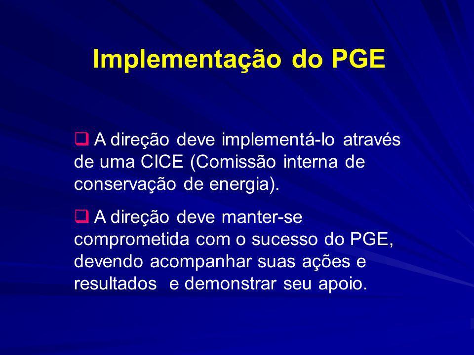 Implementação do PGE A direção deve implementá-lo através de uma CICE (Comissão interna de conservação de energia).