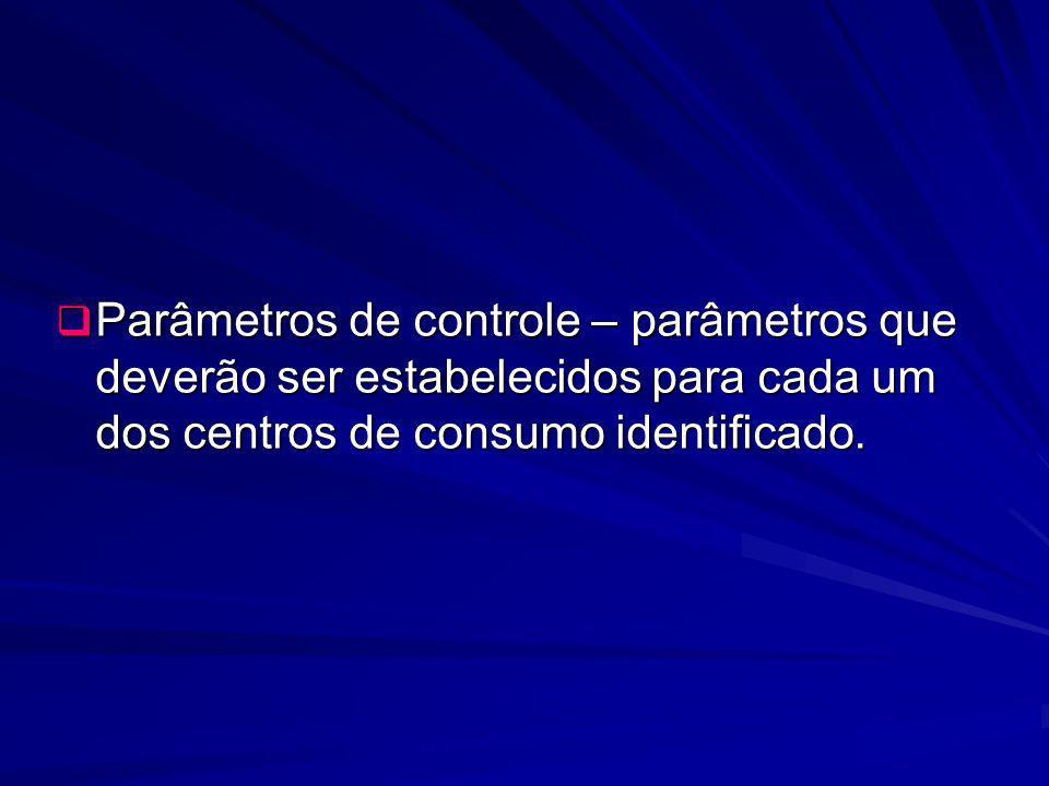 Parâmetros de controle – parâmetros que deverão ser estabelecidos para cada um dos centros de consumo identificado.