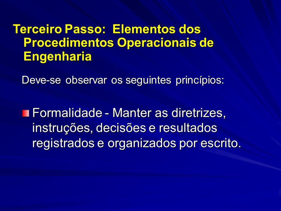 Terceiro Passo: Elementos dos Procedimentos Operacionais de Engenharia