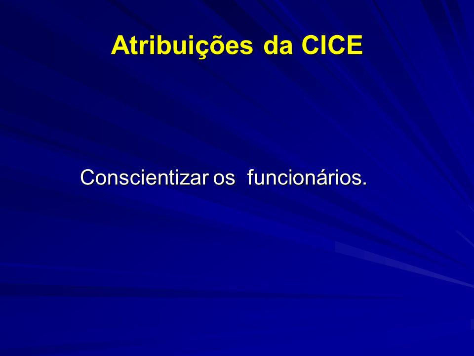 Atribuições da CICE Conscientizar os funcionários.