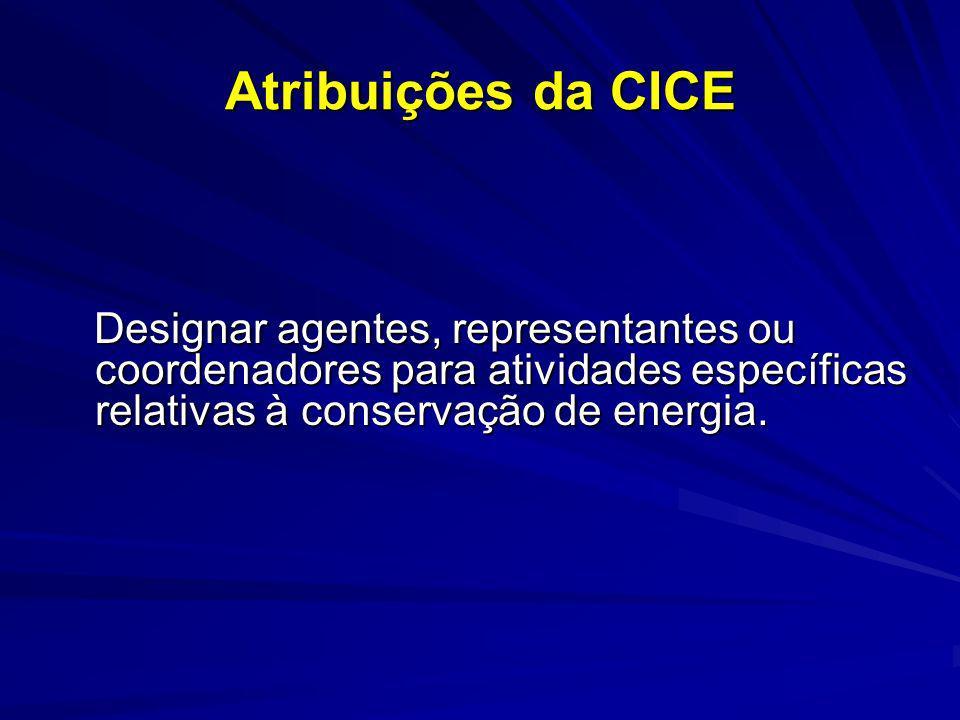 Atribuições da CICE Designar agentes, representantes ou coordenadores para atividades específicas relativas à conservação de energia.