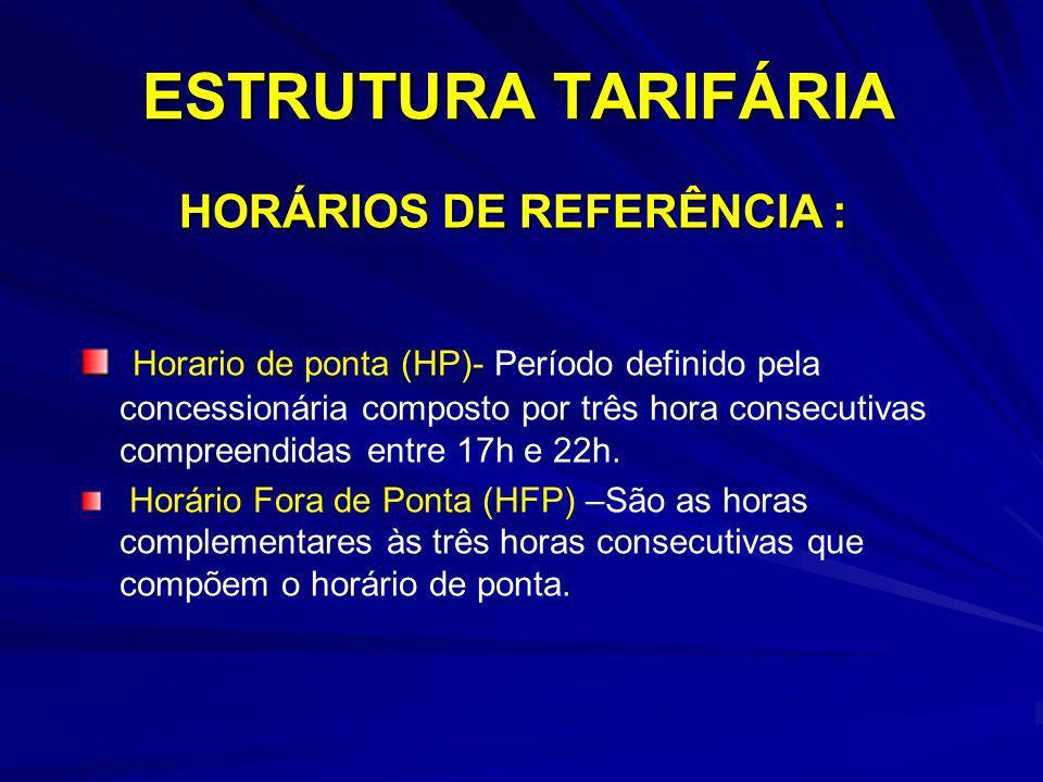 ESTRUTURA TARIFÁRIA HORÁRIOS DE REFERÊNCIA :